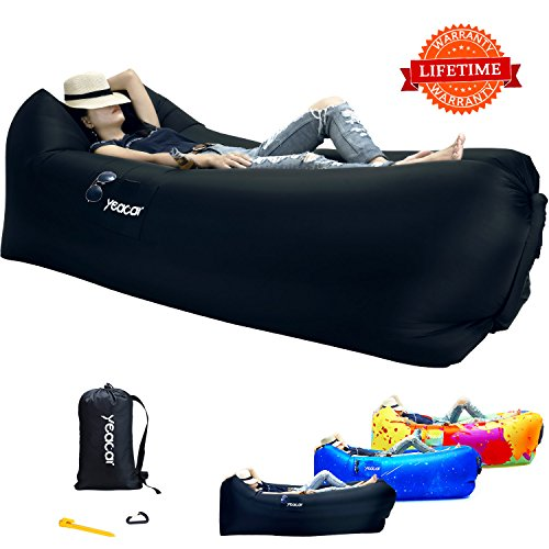 yeacar Inflatable Lounger Air Sofa, Portable Waterproof Indoor or Outdoor Inflatable Couch for Camping Park Beach -