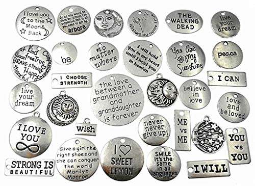 (Kinteshun Lettering Sayings Inspiration Words Charm Hang Tag Quote Message Verses Charm Pendant Connecter for DIY Necklace Bracelet Jewelry Making Accessaries(31pcs,Antique Silver Tone))