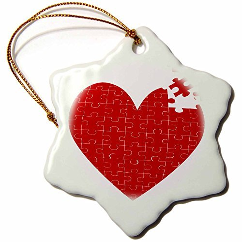Ornaments to Paint _ Large Red Heart Made of Puzzle Pieces-Snowflake Ornament, Porcelain, 3-Inch