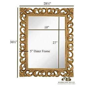 "Hamilton Hills Antique Gold Ornate Baroque Frame Mirror | Elegant Old World Feel Beveled Plate Glass Mirrored Design | Hangs Horizontal or Vertical (28.5"" x 36.5"")"