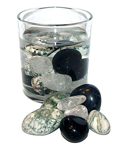 200 Gramm Edelsteinwasser POWER Mischung zur Wasseraufbereitung Set aus Bergkristall / Baumachat/ Turmalin schwarz.(2465)