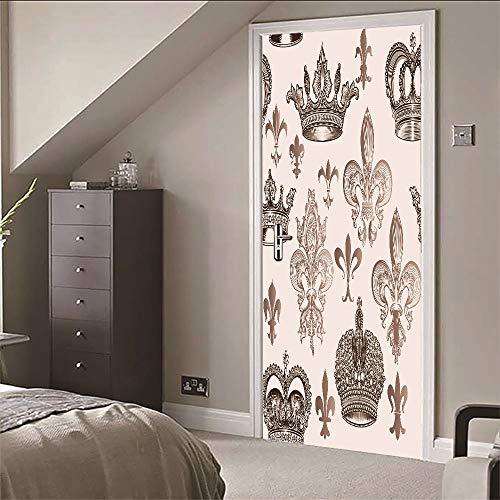AKLIG Door Sticker Mural 3D Crown for Bedroom Bathroom Ep Self-Adhesive PVC Wall Sticker, 77X200Cm]()