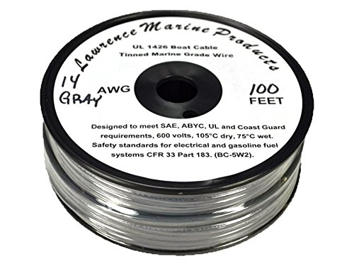 14 AWG Tinned Marine Primary Wire, Gray, 100 Feet