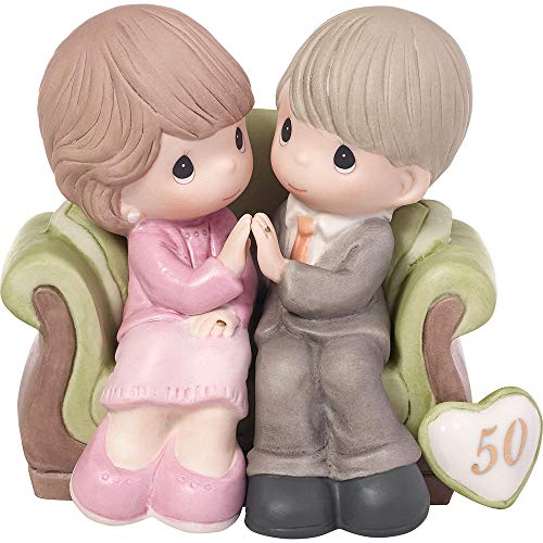 (Precious Moments,  Through The Years - 50th Anniversary, Bisque Porcelain Figurine, 123021)