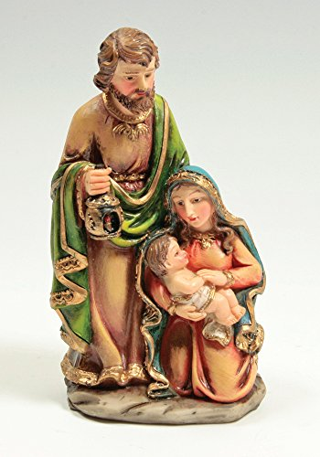 Nativity Figurine One Piece Holy Family Jesus Mary and Joseph Christmas Collectible Statue Decoration - 5 Inch by Banberry Designs