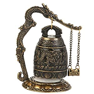 Zinc Alloy Vintage Style Bronze Lock Dragon Carved Buddhist Bell Chinese Geomantic Artware Exquisite Home Decor Classic