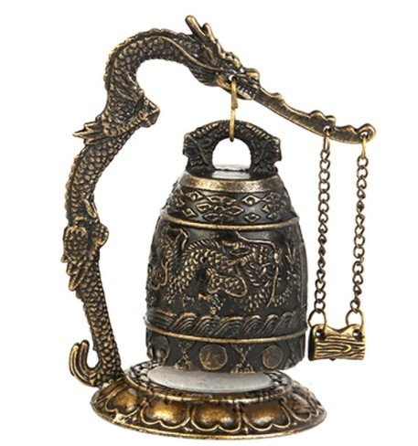 Zinc Alloy Vintage Style Bronze Lock Dragon Carved Buddhist Bell Chinese Geomantic Artware Exquisite Home Decor - Ban Sign Ray