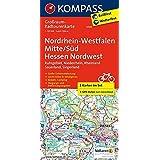 Nordrhein-Westfalen Mitte/Süd - Hessen Nordwest: Großraum-Radtourenkarte 1:125000, GPX-Daten zum Download (KOMPASS-Großraum-Radtourenkarte, Band 3706)