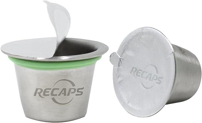 RECAPS--C/ápsulas Reutilizables C/ápsulas Recargables de Acero Inoxidable Conciliable con m/áquinas Nespresso 3 C/ápsula +120 Sellos+1 Tamper de caf/é