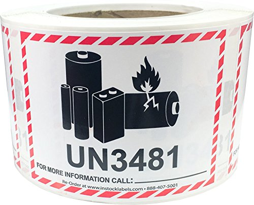 Caution Lithium Battery Labels UN3481 3.25 x 4.25 Inch 500 Total Stickers for Smaller Packages Only