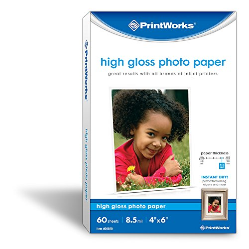 """Printworks High Gloss Photo Paper for Inkjet Printers, 8.5 mil, 60 Sheets, 4"""" x 6"""" (00590)"""