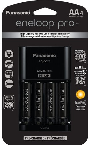 Panasonic K-KJ17KHCA4A Eneloop Pro Individual Cell Battery Charger with 4 AA Ni-MH Rechargeable Batteries, 4 pack