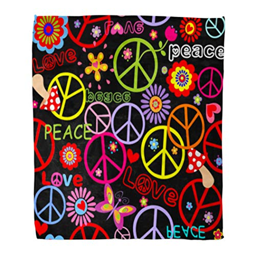 Golee Throw Blanket Colorful Pattern Hippie Peace Symbol Mushrooms and Abstract Flowers Sign 60x80 Inches Warm Fuzzy Soft Blanket for Bed Sofa