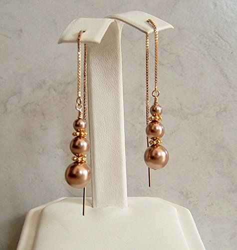 Champagne Beige Swarovski Elements Simulated Pearl Gold Filled Ear Thread Earrings Gift Idea