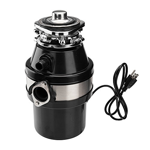 0.75L 1.0HP 2600RPM Garbage Disposal Continuous Feed Home Kitchen Food Waste Disposer Black by Lykos