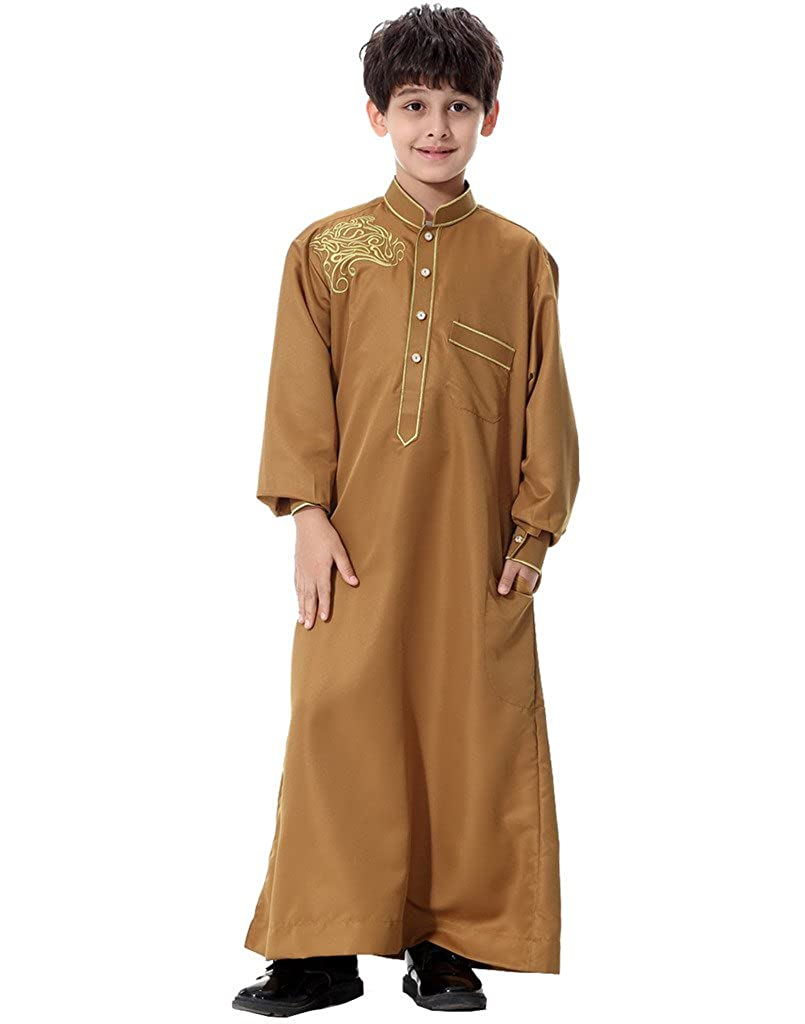 GladThink Boys Muslim Embroidery Thobe Long Sleeves Mandarin Neck