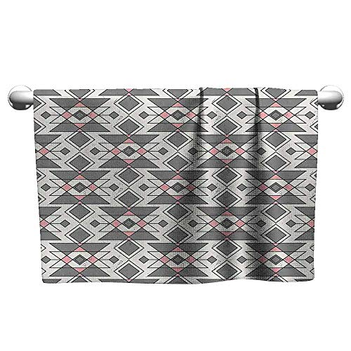 DUCKIL Fancy Hand Towels Abstract Geometric Pattern with Traditional Aztec Culture Effects Tribal Print Bath Towel 14 x 14 inch Grey Pearl Light Pink