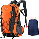 Hiking Backpack,40L Multi-functional Outdoor Camping Trekking Rucksack Traveling Climbing Backpack Cycling Travel Climbing Mountaineer Outdoor Sport Daypack Bag with Rain Cover (Orange)