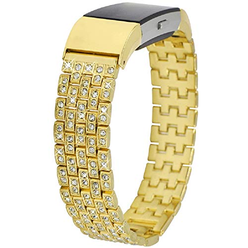 Fitbit Charge 2 Bands, Wcysin Bling Bands Stainless Steel Diamond Bracelet for Fitbit Charge 2 (Gold)