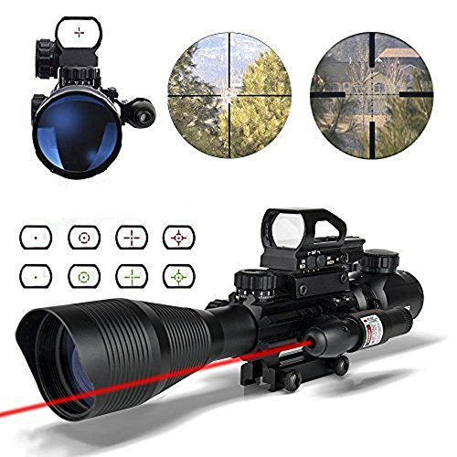 HSEE Tactical Rifle AR15 Scope 4-12x50EG Dual Illuminated, Red Laser Sight and 4 Holographic Reticle Red and Green Dot Sight for 22&11mm Weaver/Picatinny Rail Mount (12 Month Warranty) (10' Riflescopes)