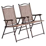 Giantex Set of 2 Folding Sling Back Chairs Indoor Outdoor Camping Chairs Garden Patio Pool Beach Yard Recliners Lounge Chairs w/Armrest (Brown)