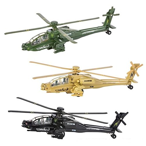 Diecast Helicopter Set, Assorted Apache Toy Helicopters, Pullback Chopper Set (Set of 3) 8
