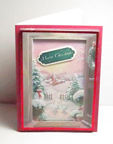 now Scene with Snowman, Geese, Church & Trees Frame Style Glittered Merry Christmas Greeting Card with Verse Inside - One of a Kind ()