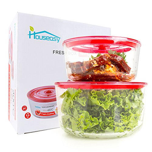 Houseasy Pyrex Glass Food Storage Container Set with Locking Lids Large for Microwave, Freezer and Dishwasher, 2 size (12 cup & 7 cup)