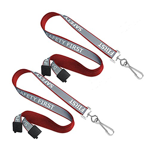 (Safety First Reflective Lanyard with Luminescent Glow in The Dark Bundle - Lot of 2 as Shown (Lanyard Red))