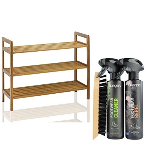 3-Tier Bamboo Stackable Shoe Rack with Boot & Shoe Cleaning Protection Kit 4' Round Sticker