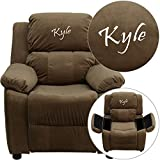Flash Furniture Personalized Deluxe Padded Microfiber Kids Recliner with Storage Arms, Brown