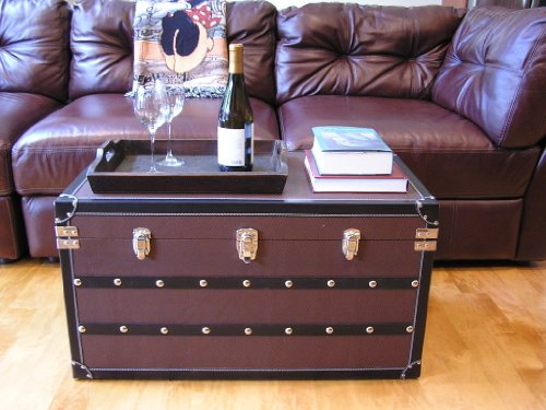 (Decorative Sterling Large Wood Steamer Trunk Wooden Treasure Hope Chest)