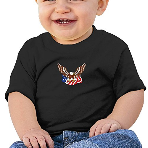 BABY0KOK Bald Eagle Flag Boys & Girls Baby Cozy 100% Cotton T-Shirts Unisex (Flag Baby Doll T-shirt)