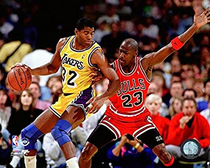 factory authentic e3a29 1deb9 Image Unavailable. Image not available for. Color  Bulls Lakers Magic  Johnson v. Michael Jordan 8 quot  x 10 quot  Basketball Photo