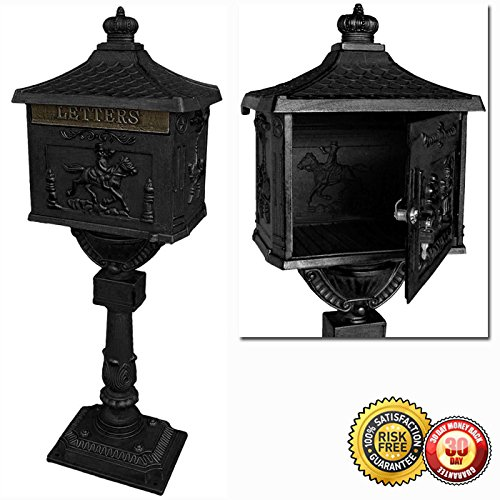 New Heavy Duty Mailbox Postal Box Security Cast Aluminum Vertical Pedestal-Black by MTN Gearsmith