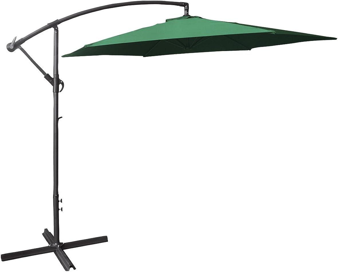 GardenKraft 14860 3m Banana Parasol 6 Ribs Cantilever Hanging Umbrella with Crank Mechanism for Outdoor, Garden and Patio, Dark Green