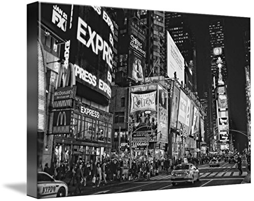 Wall Art Print entitled Times Square In New York City In Black And White by Lillis Werder | 48 x - New York In Square Stores Times City