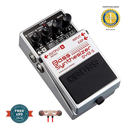 BOSS SYB-5 Bass Synthesizer Pedal includes Free Wireless Earbuds - Stereo Bluetooth In-ear and 1 Year Everything Music Extended Warranty