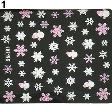 Brussels08 1 Sheet Christmas Snowflakes Snowman 3D Nail Art Sticker Self-adhesive Nail Art Tattoo Stickers Wraps Decals Water Transfer Nail Care Manicure Stamping DIY Decorations Pink