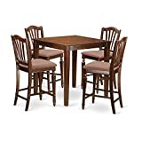 East West Furniture VNCH5-MAH-C 5 Piece Counter Height Pub Table and 4 Kitchen Chairs Set Review