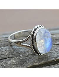 Blue Fire Moonstone Ring Sterling Silver, Women Ring, Size 6, 7, 8, 9, 10, 11, Big Size Rings, Rainbow Moonstone Silver Ring, Gift jewelry, oval shape moon stone ring