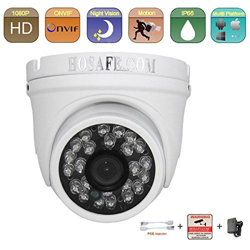 HOSAFE HD 1080P Outdoor IP Camera(2.0 Megapixel), Dome Security Camera with IP66 Weatherproof, Night Vison – 65ft,Motion Detection, with Power Adapter and POE injector