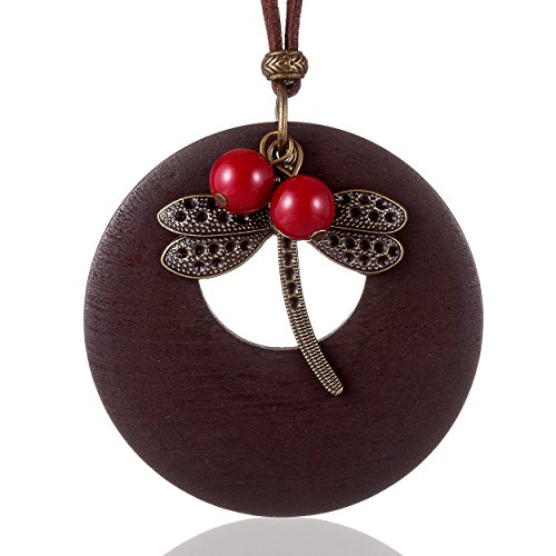 Coostuff Beautiful Brown Handmade Wood Vintage Dragonfly Pendant Jewelry necklace for women
