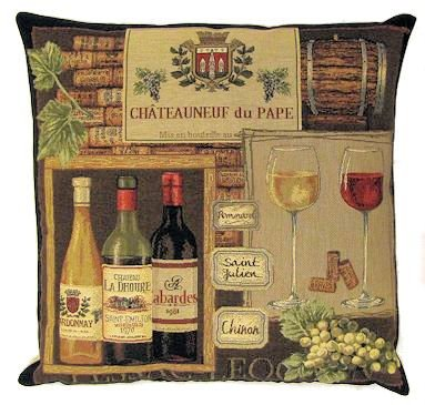 Authentic Jacquard Cotton Woven European Tapestry Throw Pillow Cases / Decorative Gifts / Home Decor Cushion Cover 18X18 Chateauneuf du Pape Winery / Red White French Wines / Corks Barrels Wine Lovers