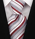 Scott Allan Mens Striped Tie - Burgundy & Gray