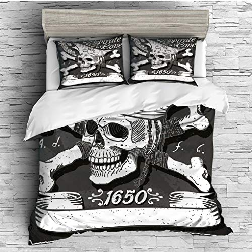 SCOCICI King Size Duvet Cover Set/Pirate,Pirate Cove Flag Year of 1650 Vintage Frame Crossbones Floral Swirls Hat Heart Decorative,Black White Grey / 3 Piece Bedding Set ()