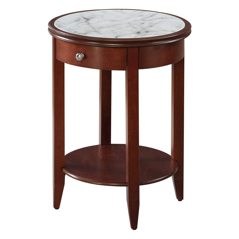 Convenience Concepts American Heritage Baldwin End Table with Drawer, Mahogany/Faux Marble by Convenience Concepts