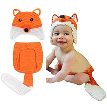 Amazon.com   WA Hot 2015 Creative Safety Newborn Baby Hats 0-9 Month Baby  Knit Crochet Caps Clothes Photo Prop Outfits Fox Pattern M09   Baby 916d12b68b1e