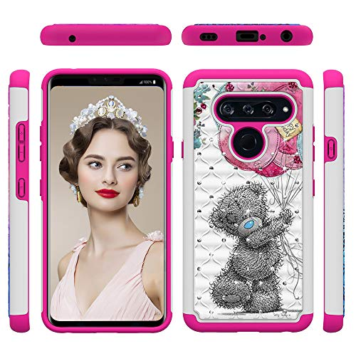 LG V40 ThinQ Case, LG V40 Case, 2 in 1 Dual Layer Shockproof Bling Diamond Sparkly Defender Hard PC Silicone Easy Grip Anti-Scratch Protective Case Cover for LG V40 ThinQ, LG V40 Balloon Bear