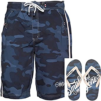 Mens Smith And Jones Carve Board Shorts And Flip Flops Navy Guys